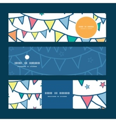 Colorful doodle bunting flags horizontal banners vector