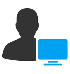 Computer administrator flat icon vector