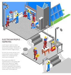 Electrician Isometric Composition vector image vector image
