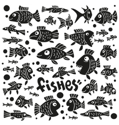 Fishes - doodles set vector image