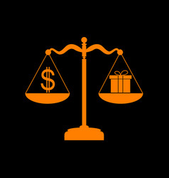 Gift and dollar symbol on scales orange icon on vector