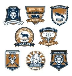 Heraldry icons of wild safari animals vector