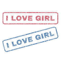 i love girl textile stamps vector image vector image