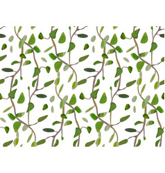 Leaves and interwinted green branches foliage vector