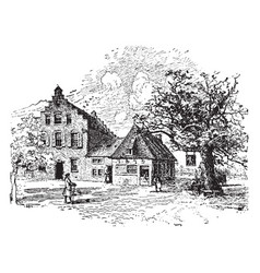 Old houses new york city 1679 vintage vector