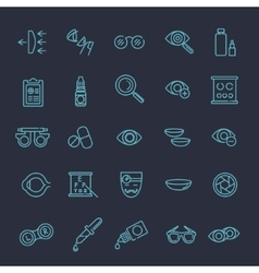 Optometry vision correction eyes health icons vector