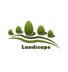 Park garden landscape icon with bushes and trees vector