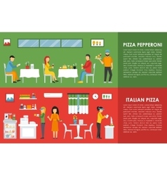 Pepperoni and italian pizza flat concept web vector