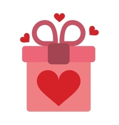 pink gift box with heart and bow vector image vector image