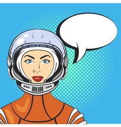 pop art beautiful young woman in astronaut helmet vector image vector image