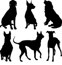 Set of silhouettes of dogs vector