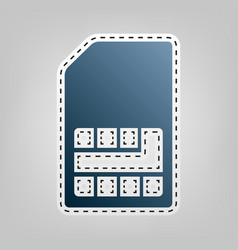 Sim card sign blue icon with outline for vector