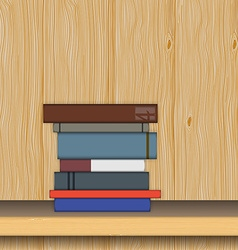 Stack of books on wooden shelf in flat style vector image