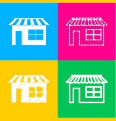 store sign four styles of icon on vector image
