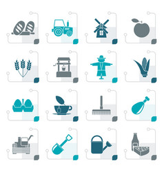 Stylized agriculture and farming icons vector