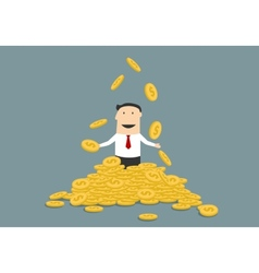 Successful businessman juggling his money coins vector image vector image