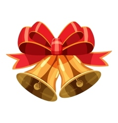 Christmas bells with red bow icon cartoon style vector