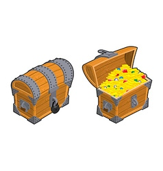 Treasure chest set outdoor and indoor old casket vector