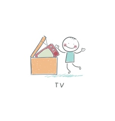 Man throws garbage on tv vector