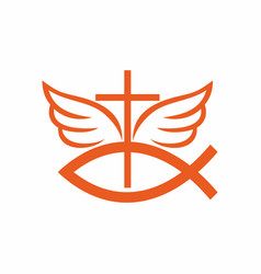 Cross a symbol of fish and wings vector