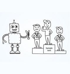 Hand drawn cartoon robot awards winners vector