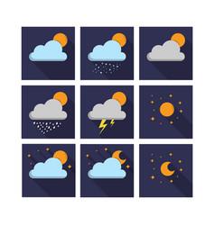 Weather night icon set vector