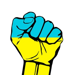 Fist icon colored in ukraine flag color vector