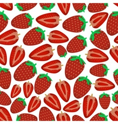 Colorful strawberries fruits and half fruits vector