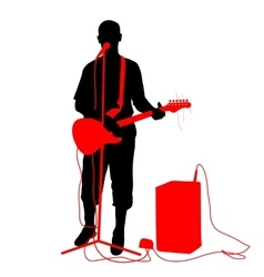 Silhouette musician plays the guitar vector