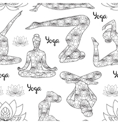 Yoga silhouette pattern vector