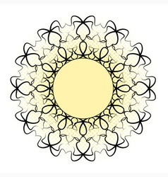 Black ornamental mandala - yellow central circle vector