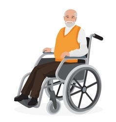 Old man grandfather in wheelchair isolated on vector