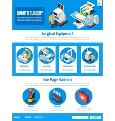 Robotic surgery isometric one page desing vector