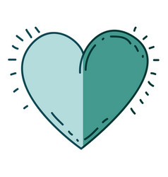 Aquamarine hand drawn silhouette of heart icon vector