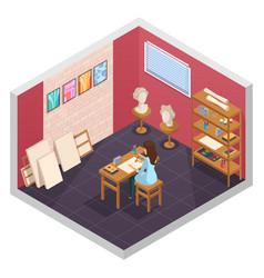 Art school room composition vector