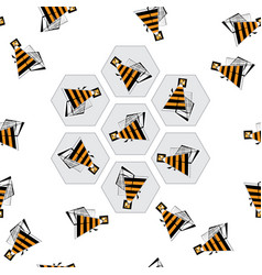 bees and honeycombs seamless pattern abstract bee vector image vector image