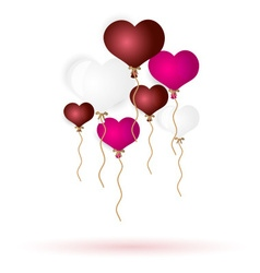 Colorful helium balloons heart shape for love and vector
