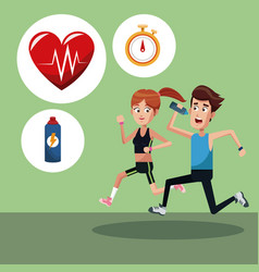Couple training sport icons vector