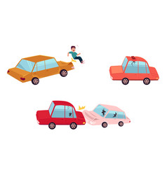 Flat cartoon car accident set isolated vector