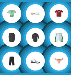 Flat icon clothes set of t-shirt stylish apparel vector