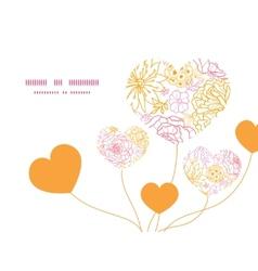Flowers outlined heart symbol frame pattern vector