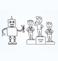hand drawn cartoon robot awards winners vector image