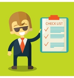 Happy businessman with checklist All items are vector image