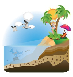 Happy Girl on Island vector image