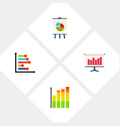 Icon flat graph set of diagram infographic chart vector