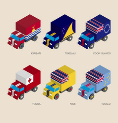 isometric 3d cargo trucks with vector image vector image