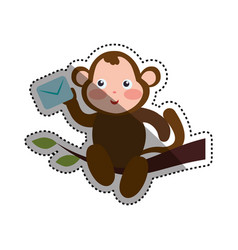 Monkey cartoon delivering envelope vector