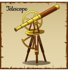 Old golden telescope pointing up vector image vector image