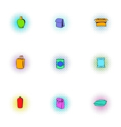 Package icons set pop-art style vector