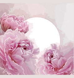 pink peony flowers background with a round label vector image